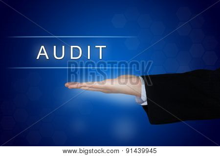 Audit Button On Blue Background