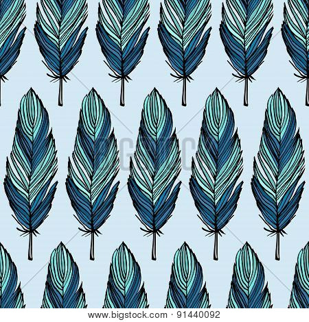 Turquoise Feather Seamless Pattern