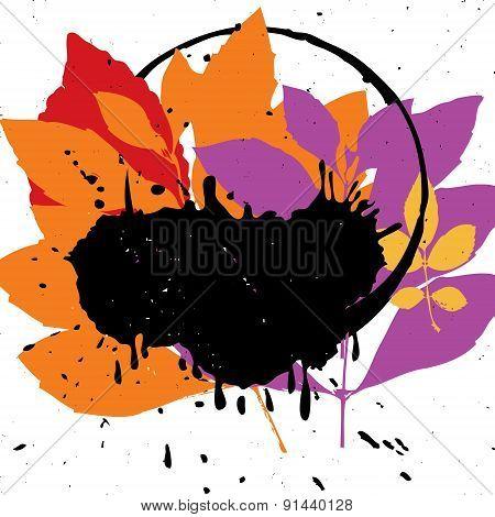 Vector Grunge Leaf Background