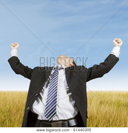 Entrepreneur Celebrating Victory At Field