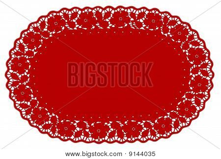 Red Lace Doily Mat