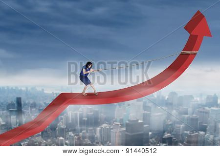 Businesswoman Drags Arrow Upward