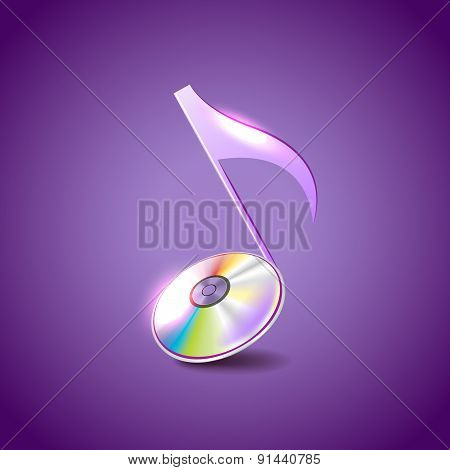 Music Note Like Compact Disc Vector Background