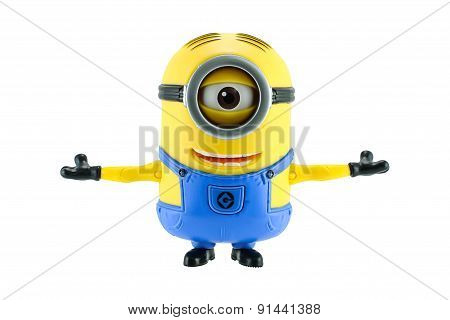 Minions Stretch The Arms Isolated On White Background.
