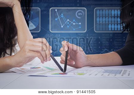 Workers Hands And Business Graph