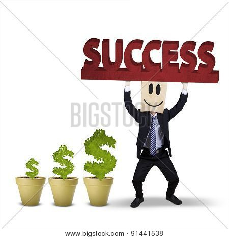 Worker With Money Tree And A Success Text