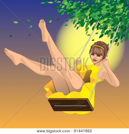 beautiful sexy girl in yellow dress on a swing and a blue sky