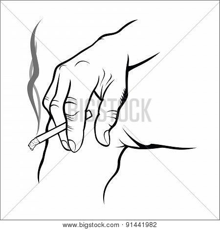 Hand holding cigarette