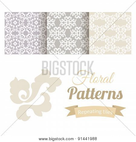 Abstract Vintage Seamless Floral Patterns Set