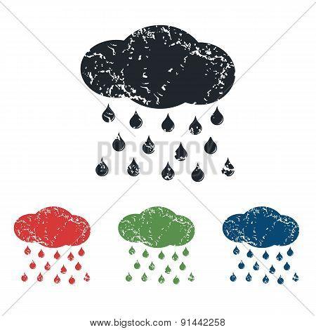 Rain grunge icon set