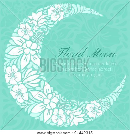 Floral Design Decorated Crescent Moon
