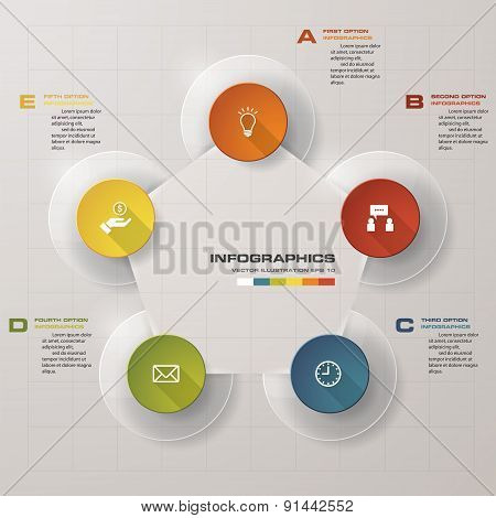 Design clean number banners template/graphic or website layout. 5 steps chart.