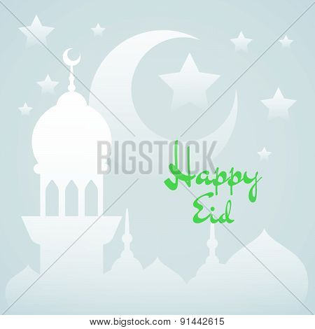 Islamic Background With Mosque, Stars And Crescent