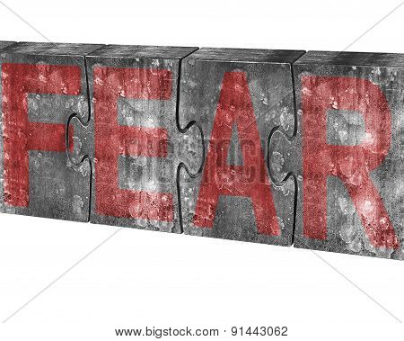 Red Fear Word On Huge Concrete Puzzles Isolated On White