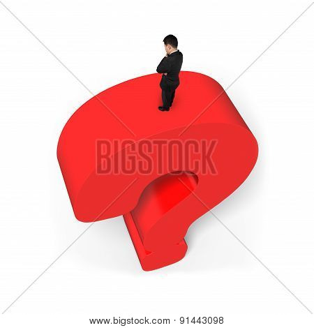 Man Standing On Huge 3D Red Question Mark White Background
