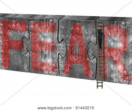 Man Climbing Ladder Puzzles Concrete Wall Red Fear Word