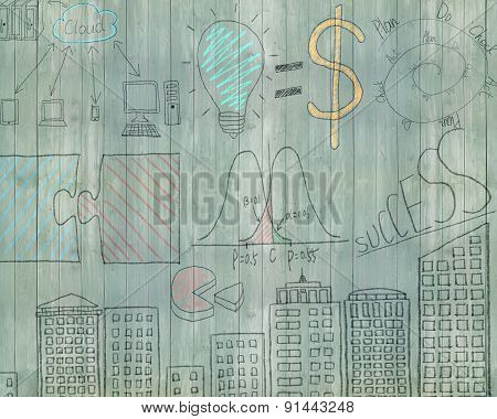 Business Concept Doodles On Old Green Wooden Wall