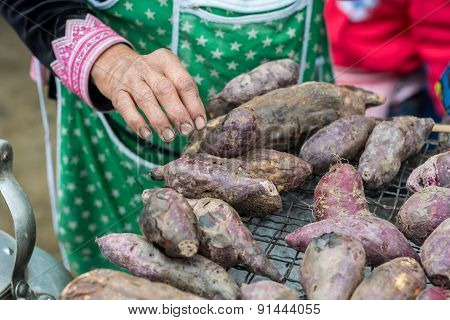 Roasted Sweet Potatoes On Grill