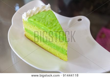 Green Tea Cake On White Plate