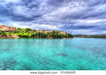 Porto Cervo Shoreline On A Cloudy Day In Hdr