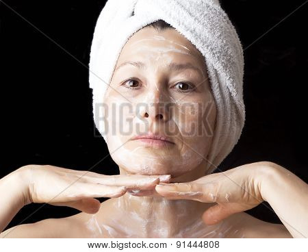 Woman mask on her face.