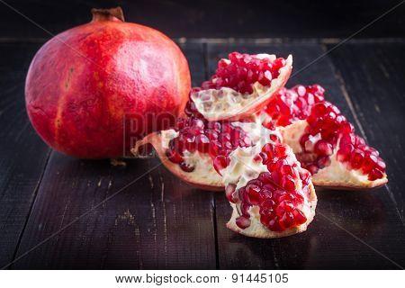 Juicy Pomegranate And Pomegranate Parts