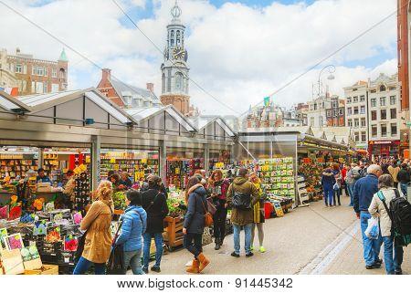 Street Flower Market In Amsterdam