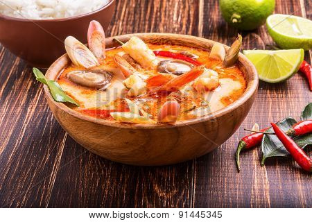 Thai Tom Yam Soup With Shrimp And Shiitake Mushrooms