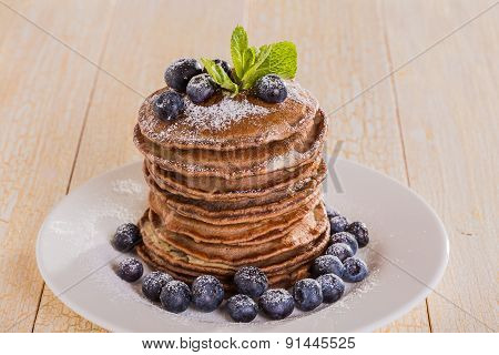 Homemade Chocolate Pancakes With Berries