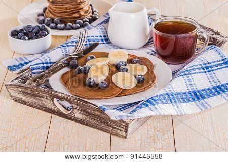 Homemade Chocolate Pancakes With Berries And Banana