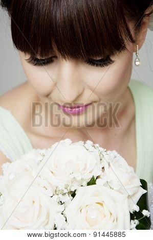 Beautiful Bride With Her Bouquet Closeup