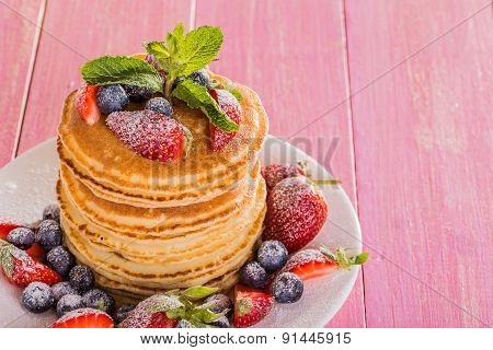 Homemade Pancakes With Berries And Fruit