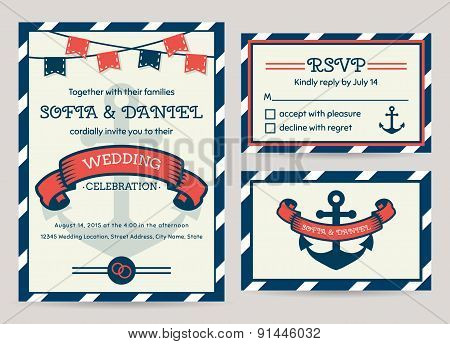 Sea Wedding Invitation. Vector Templates.