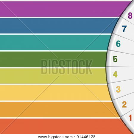 Colour Strips And Numbered Semicircle With Text Areas For Eight  Options