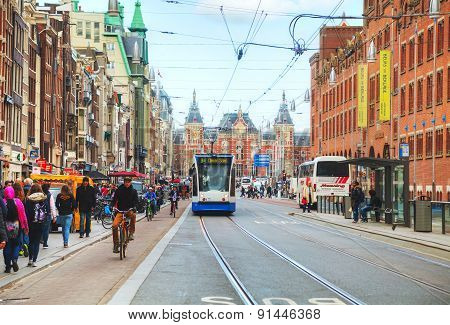 Tram Near The Amsterdam Centraal Railway Station