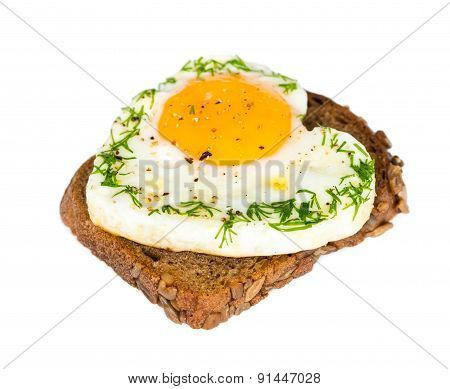 Sandwich With Fried Eggs In The Shape Of A Heart