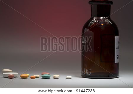 Glass medical bottle with copy space