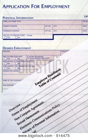 Application For Employment & Employee Handbook