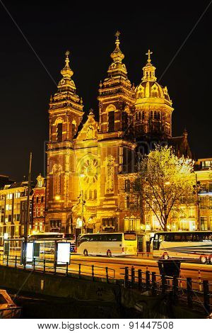 The Basilica Of Saint Nicholas (sint-nicolaasbasiliek) In Amsterdam