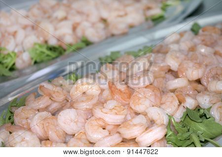 Try Of Shrimps Cooked At Steam