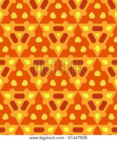 Orange Yellow Brown Color Abstract Geometric Seamless Pattern.