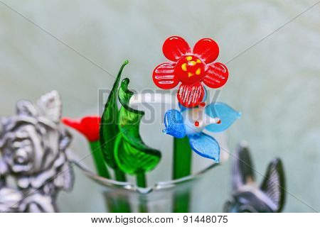 Glass Flowers And Scarlet Flower