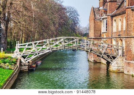 Mathematical Bridge At The Queens College In Cambridge