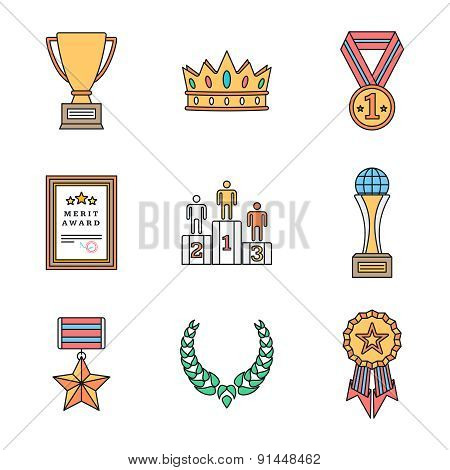 Colored Outline Various Awards Symbols Icons Collection.