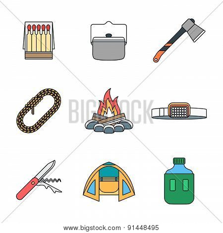 Colored Outline Various Camping Icons Collection.