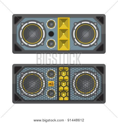 Professional Concert Tour Array Speakers Colored Flat Style Illustration.