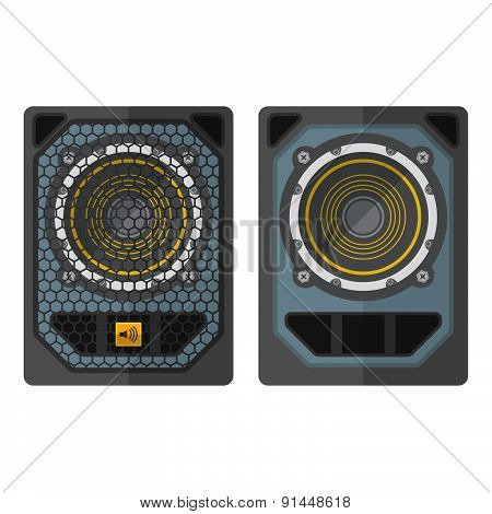 Professional Concert Tour Array Subwoofer Speakers Colored Flat Style Illustration.