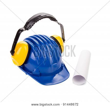 Various working equipment with hard hat.