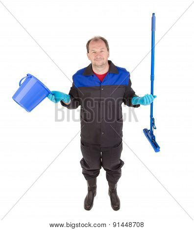 Man cleaning with mop and bucket.