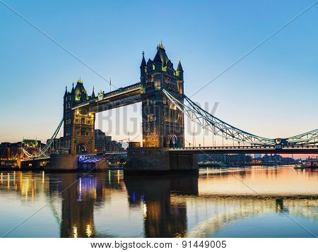 Tower Bridge In London, Great Britain At Sunrise